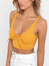 Load image into Gallery viewer, Yellow Knot Front Ribbed Crop Tank