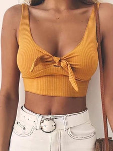Yellow Knot Front Ribbed Crop Tank