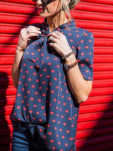 Dark Blue Lip Print Bow Front Blouse