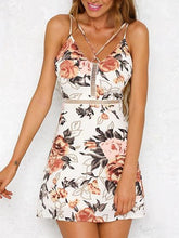 Load image into Gallery viewer, White Floral Print Cross Strap Front Open Back Cami Mini Dress