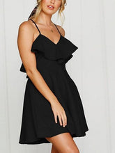 Load image into Gallery viewer, Black Cotton V-neck Ruffle Trim Open Back Chic Women Cami Mini Dress
