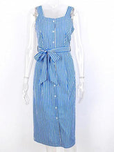 Load image into Gallery viewer, Blue Cotton Stripe Square Neck Sleeveless Chic Women Midi Dress