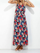 Load image into Gallery viewer, Red Cotton Blend Floral Print Open Back Chic Women Cami Maxi Dress