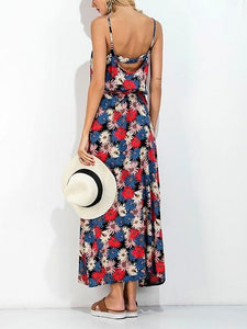 Red Cotton Blend Floral Print Open Back Chic Women Cami Maxi Dress