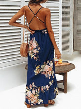 Load image into Gallery viewer, Blue V-neck Floral Print Open Back Chic Women Cami Maxi Dress