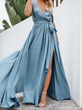 Load image into Gallery viewer, Light Blue Cotton V-neck Tie Waist Sleeveless Chic Women Maxi Dress