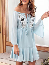 Load image into Gallery viewer, Light Blue Chiffon Off Shoulder Applique Detail Chic Women Mini Dress