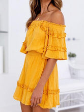 Load image into Gallery viewer, Yellow Off Shoulder Frill Trim Chic Women Mini Dress
