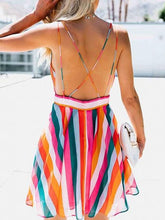 Load image into Gallery viewer, Polychrome Stripe Plunge Open Back Chic Women Cami Mini Dress