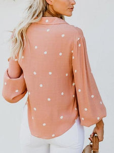 Pink V-neck Polka Dot Print Flare Sleeve Chic Women Shirt