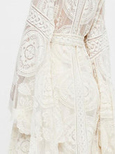 Load image into Gallery viewer, White Women Coverup Open Front Tie Waist Flare Sleeve  Lace Longline