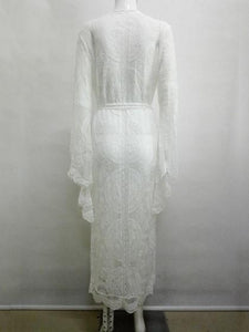 White Women Coverup Open Front Tie Waist Flare Sleeve  Lace Longline