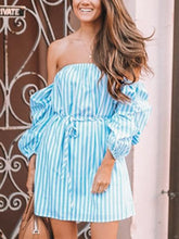 Load image into Gallery viewer, Women's Blue Stripe Off Shoulder Mini Dress