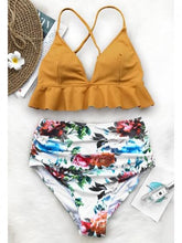 Load image into Gallery viewer, Yellow Bikini Set Contrast Floral Print Ruffle Trim