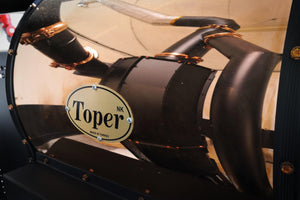reflected image of our Toper coffee roaster