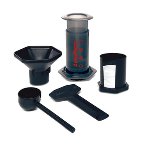 Aeropress coffee maker kit including mirco-filters, utensils and filters