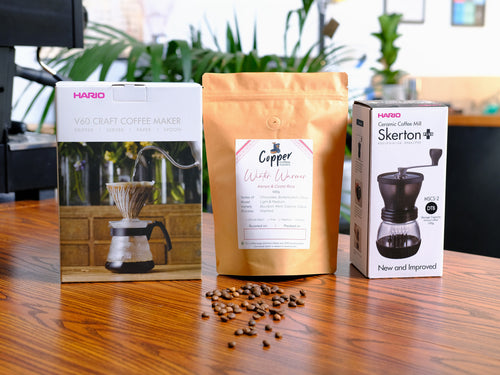 Hario Craft V60 + Coffee Grinder + Speciality Coffee Gift Set Bundle