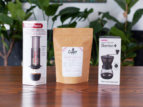 AeroPress + Hario Skerton Hand Coffee Grinder + Speciality Coffee Gift Set