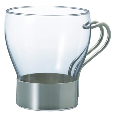 Hario Hot Cafe Glass & Steel 365ml Coffee Cup