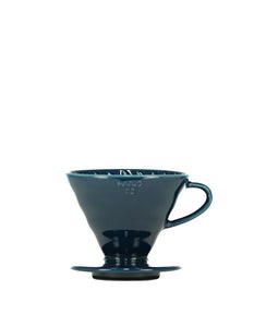 Indigo Blue Hario V60 Ceramic Coffee Dripper - Pour Over Filter, Drip Coffee Maker