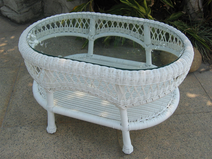 Wicker Coffee Table - White