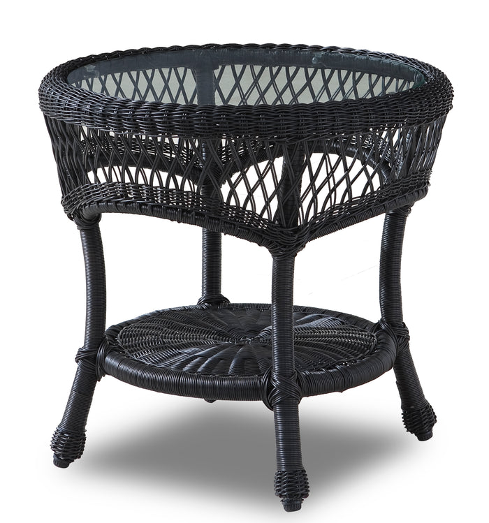 Wicker Side Table - Round with Glass Top -Ebony