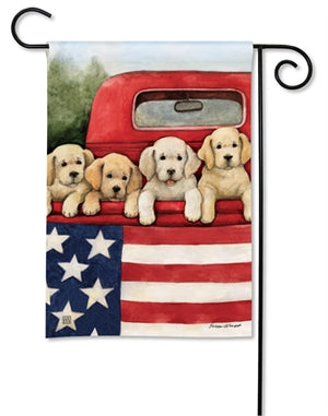Garden Flag - Patriotic Puppies