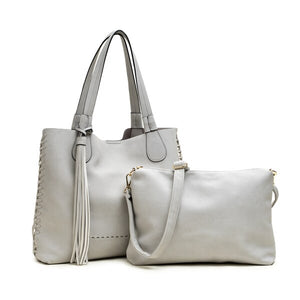 Macy Whipstitch Tote with Tassel - Cloud