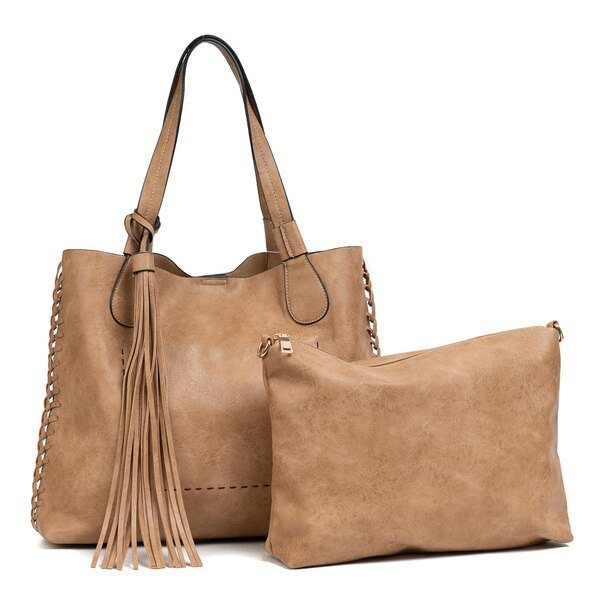 Macy Whipstitch Tote with Tassel - Mocha