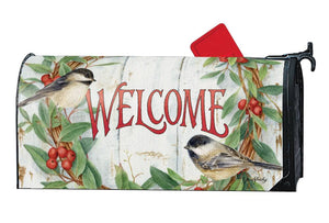 Mailbox Cover - Chickadee Wreath