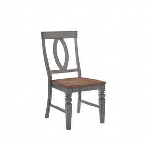 St Pete Napoleon Side Chair - Storm Grey & Warm Maple