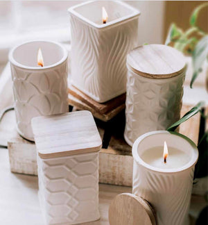 Swan Creek Candle - White Collection - Square - Cinnamon Hazelnut Latte