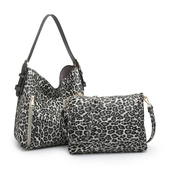 Alexa Distress Hobo Bag - Cheetah Grey