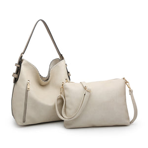 Alexa Distress Hobo Bag - Ivory
