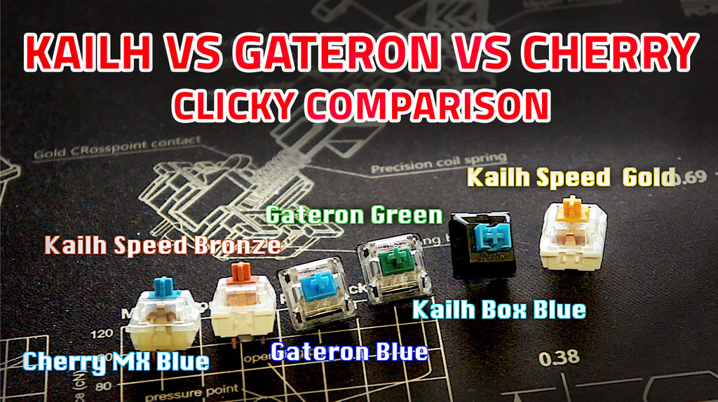 KAILH vs GATERON vs CHERRY - clicky sound comparison