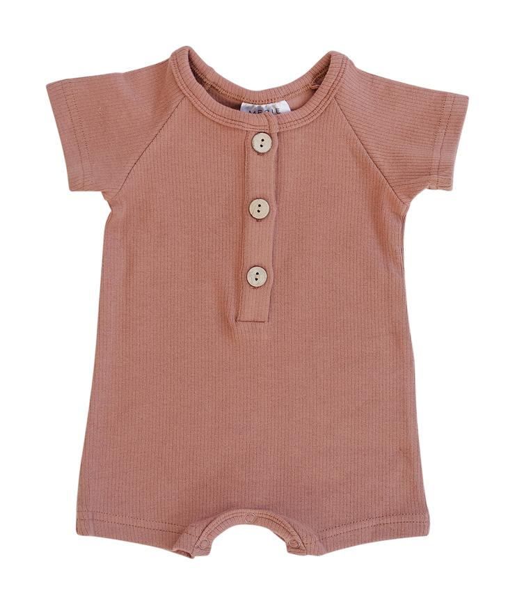 Apricot Cotton Button Romper