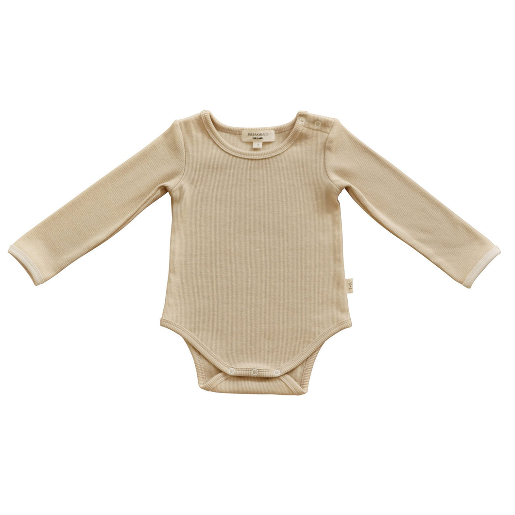 Ribbed Long Sleeve Onesie- Beige