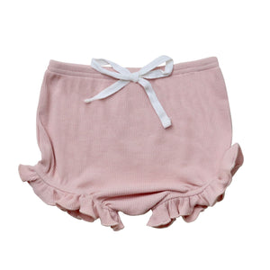 Ribbed Ruffle Bloomers - Dusty Pink
