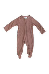 Dusty Rose Ribbed Zipper Onesie