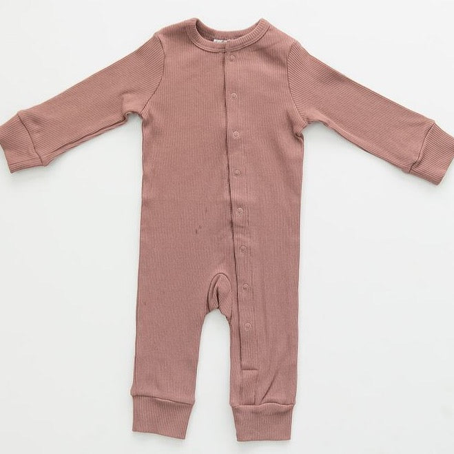 Dusty Rose Organic Cotton Ribbed Footless Jumpsuit