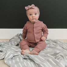 Load image into Gallery viewer, Dusty Rose Organic Cotton Ribbed Footless Jumpsuit