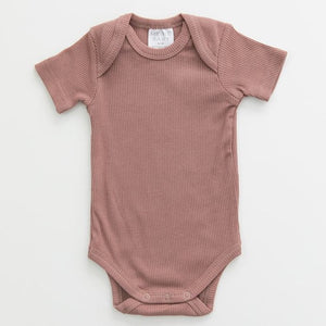 Dusty Rose Organic Ribbed Bodysuit