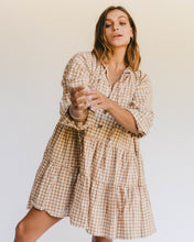 Load image into Gallery viewer, Caramel Gingham Avalon Smock Dress