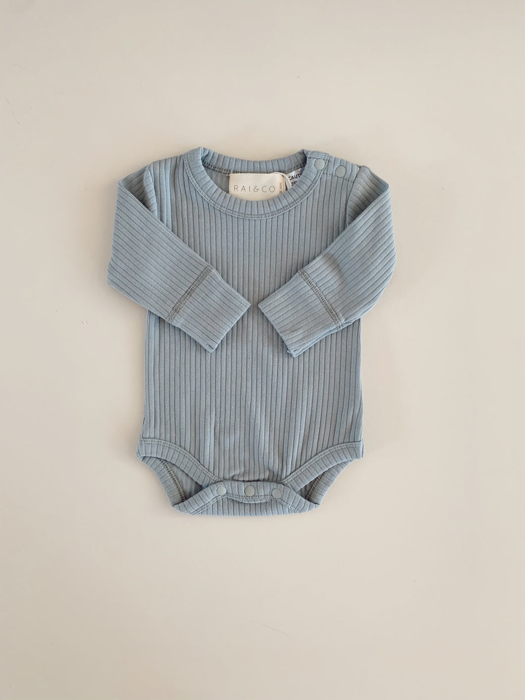 Dusty Blue Basics Long Sleeve Bodysuit