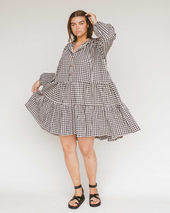 Black Gingham Avalon Smock Dress