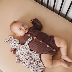 Rib Knit Long Sleeve Onesie - Mulberry