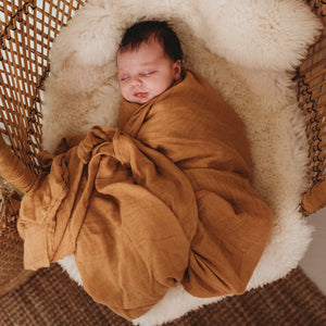 Organic Bamboo Muslin Swaddle - Ginger