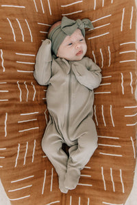 Organic Sagebrush Ribbed Zipper Onesie