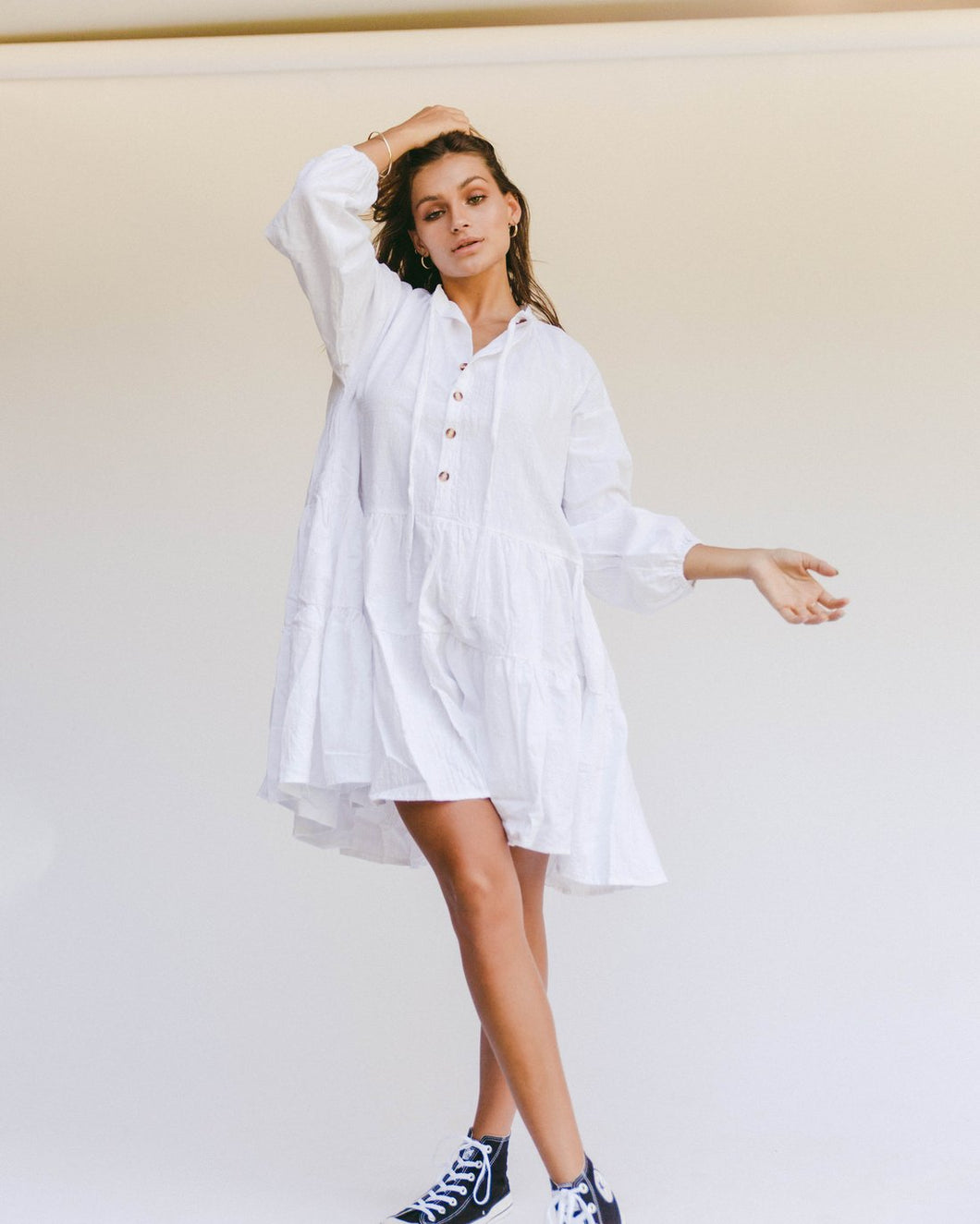 White Avalon Smock Dress