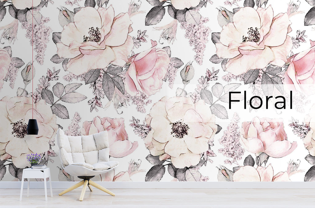 Floral, flowers, peonies, peony, roses, pink, wallpaper, decoration, installation, girls, wall, interior, design, reno, update, graphics, color, unique, wallpaper Winnipeg, Wallpaper, Installation, Store, Mural, Vinyl, Graphics, Logos,